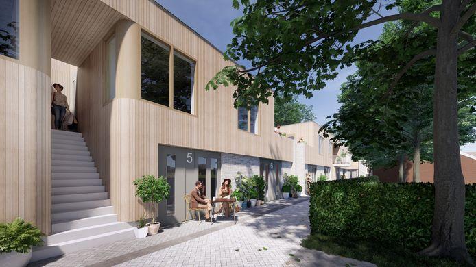 Een  impressie van hoe het nieuwbouwplan achter de Kerkakkerstraat in Eindhoven er uit zou kunnen komen te zien. Een plan van PM+Van Abbe en architecten en en 