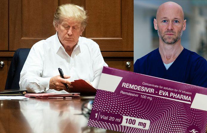 Donald Trump werkt verder in het ziekenhuis waar hij behandeld wordt. Rechts: Geert Meyfroidt (UZ Leuven).