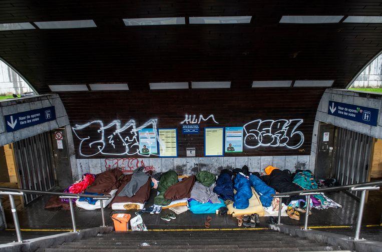 Daklozen in Brussel. Archiefbeeld. Beeld Photo News