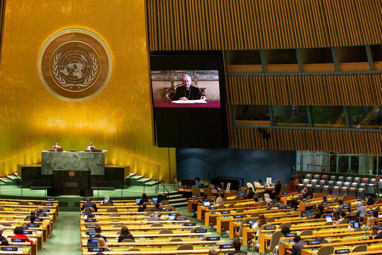 De Algemene Vergadering van de VN deze week. De Taliban krijgen geen spreekrecht, omdat de VN de gezant van de afgezette Afghaanse regering als vertegenwoordiger van het land beschouwen. Beeld AFP