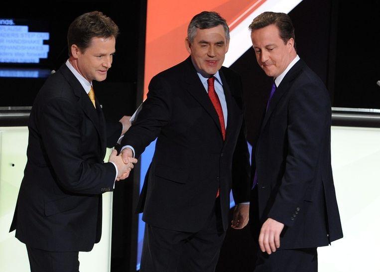 De drie Britse kopstukken: Nick Clegg, Gordon Brown en David Cameron.