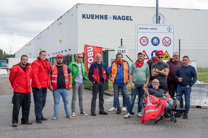 De stakingsactie aan de site van Kuehne+Nagel in Kontich.