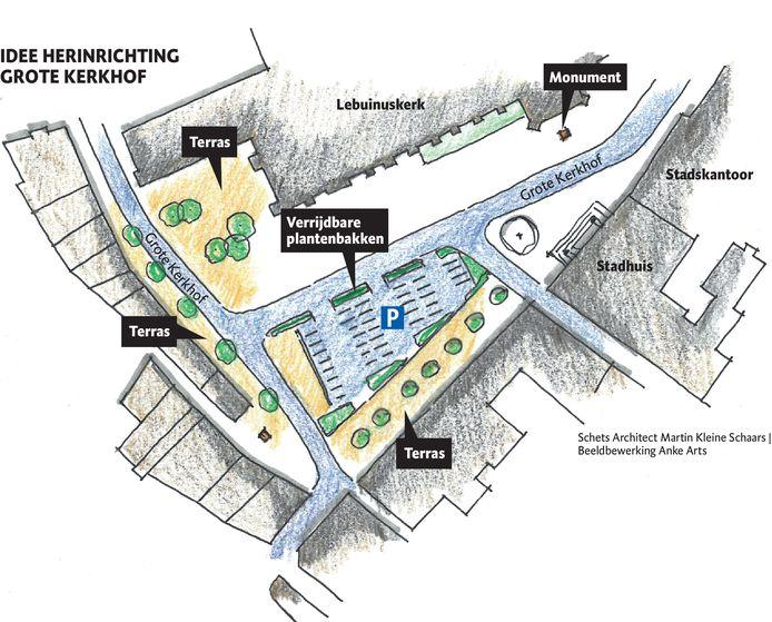 Een impressie van het herinrichtingsplan voor het Grote Kerkhof in Deventer.