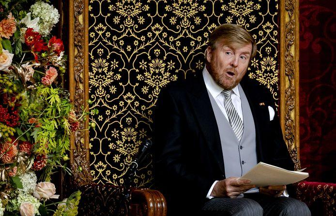 Koning Willem-Alexander op Prinsjesdag, tijdens de Troonrede de Grote Kerk.