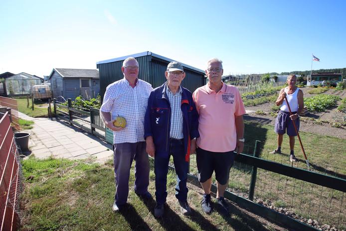 Jan de Regt, Bas van Trierum en Johan van Lier (vlnr.) bij de tuin van Dirk Schimmer, die vorig jaar de wisselbeker voor het mooiste tuintje op het complex won.
