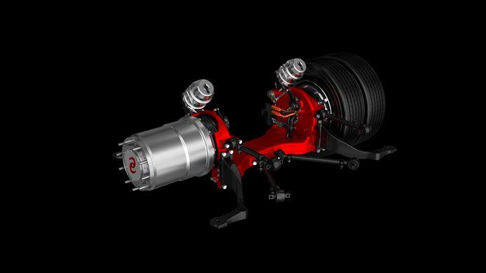 3D-model van de nieuwe ULF-as (ultra low floor) van e-Traction, met in-wheel motoren voor volledig lage vloerbussen.