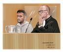 Verdachte T. bijgestaan door advocaat Roozemond in de Rechtbank Breda.