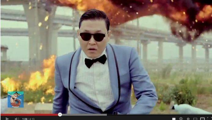 Een still van de clip 'Gangnam Style' van PSY, de meest bekeken clip op YouTube in 2012