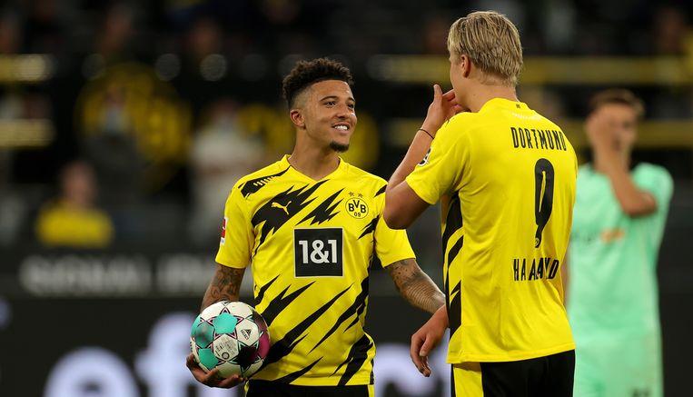 Jadon Sancho en Erling Haaland, de wonderkinderen van Dortmund. Beeld EPA