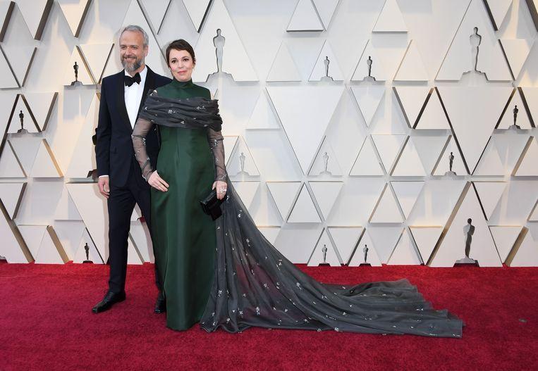 Olivia Colman, koos voor een groene jurk van Prada (mét zakken). Wij vinden het wel wat hebben.