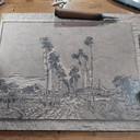 Kunstenaar Vince Trommel (31) heeft het schilderij Lijntje van Middelharnis uit hout gesneden.