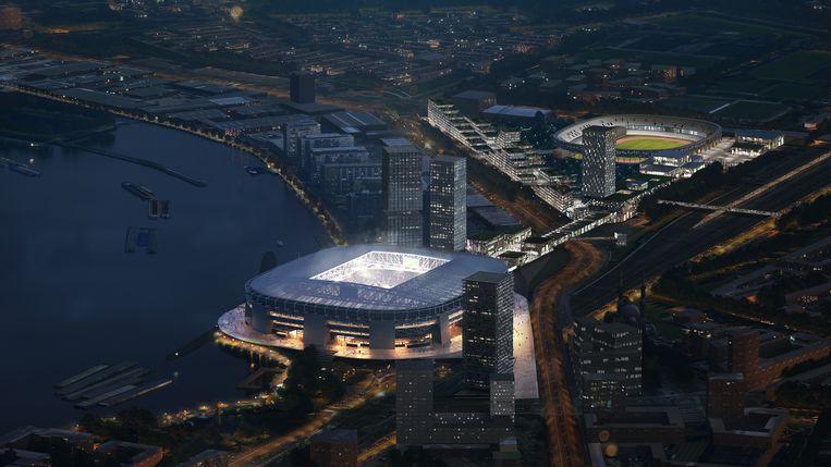 Impressie van Feyenoord City, met het nieuwe stadion van Feyenoord aan de Maas en op de achtergrond de Kuip. Een impressie van het Rotterdamse architectenbureau OMA.  Beeld Beeld OMA