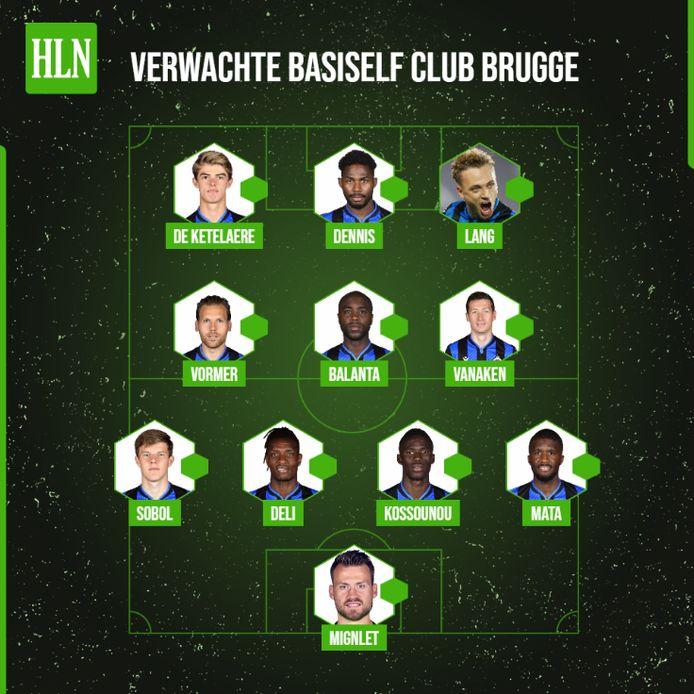 De verwachte elf bij Club Brugge voor de CL-match tegen Zenit.