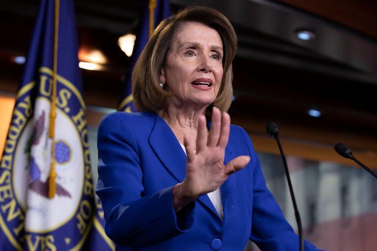 Nancy Pelosi, Democratische voorzitster van het Huis van Afgevaardigden. Beeld AP