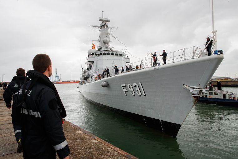 Archiefbeeld van het Belgische fregat Louise-Marie F931. Beeld BELGA