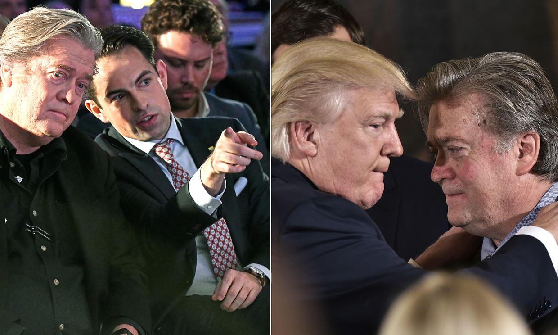 Steve Bannon met Tom Van Grieken en Donald Trump Beeld Photonews