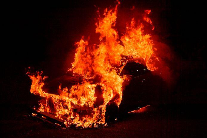 Audi in vuur en vlam.