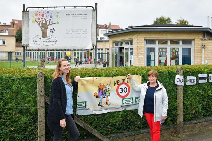 Alison Puttemans, leerkracht en Christine Sterckx, directrice bij HSBS De Droomboom