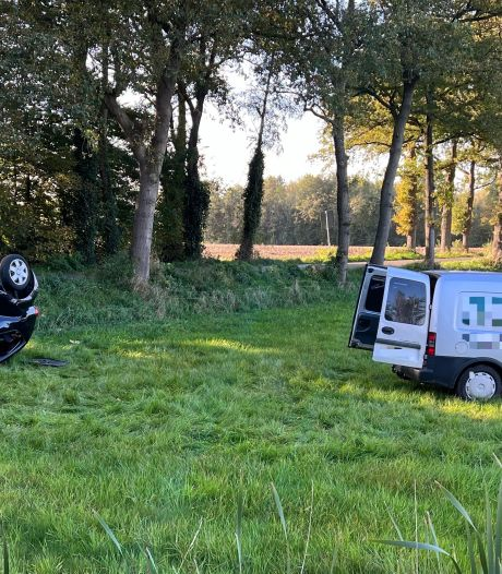 Twee auto's het weiland in, moeder en kind slaan over de kop in Harfsen