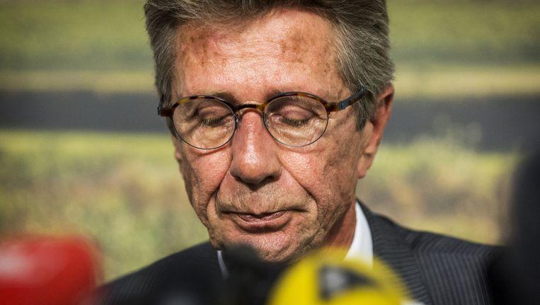 Huib Gorter tijdens de persconferentie naar aanleiding van de vliegtuigramp boven de Oekraïne. Beeld anp