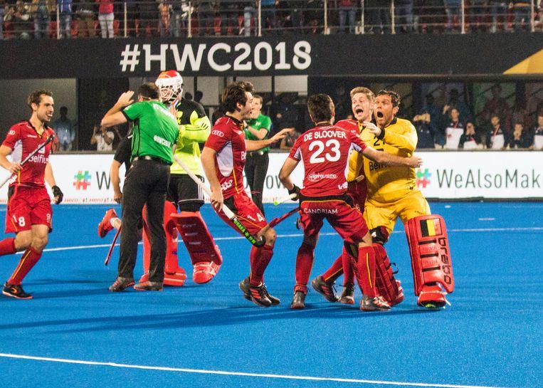 Winst tegen Nederland in de WK-finale in 2018. Beeld BELGA