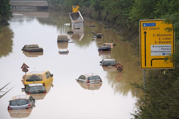 Snelweg B265 in Erftstadt, Duitsland.  Beeld AFP