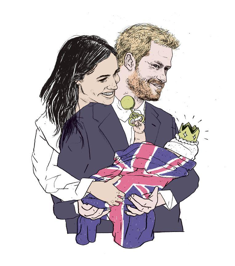 Harry, Megan en Baby Sussex. Beeld Gijs Kast