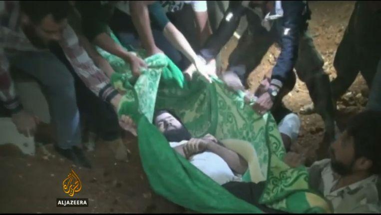 Schermafbeelding van de rebellenleider Hassan Aboud. Beeld Al Jazeera