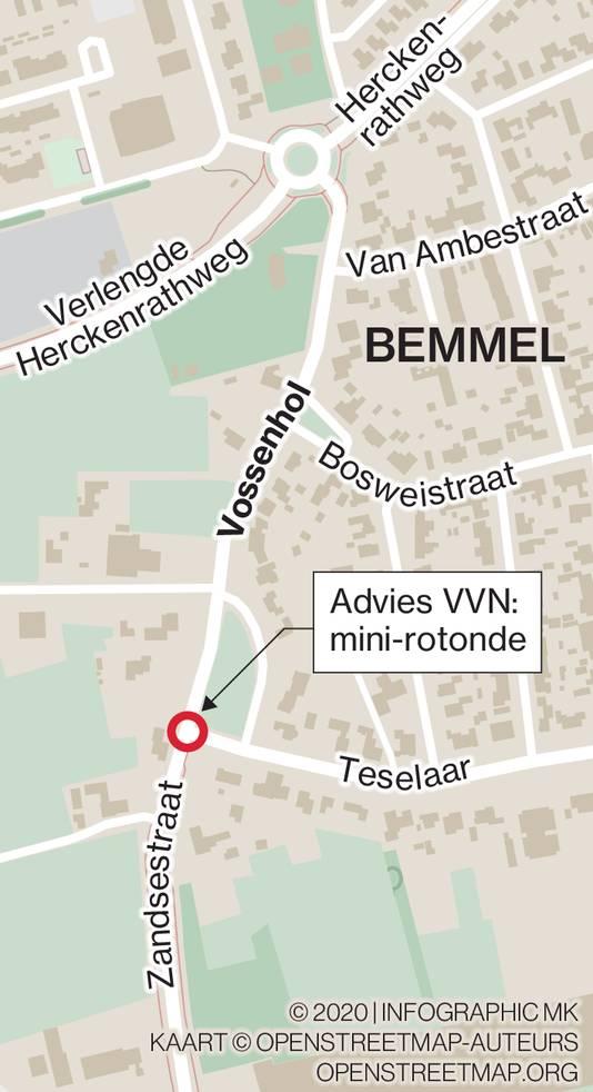 Wegensituatie aan westzijde dorpskern Bemmel.