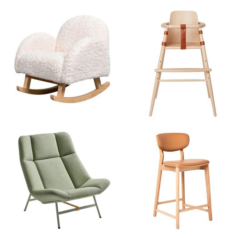Vanaf linksboven en met de klok mee: 'Rocking Chair', 'High Chair',  'Reo', 'Soft Facet'  Beeld .