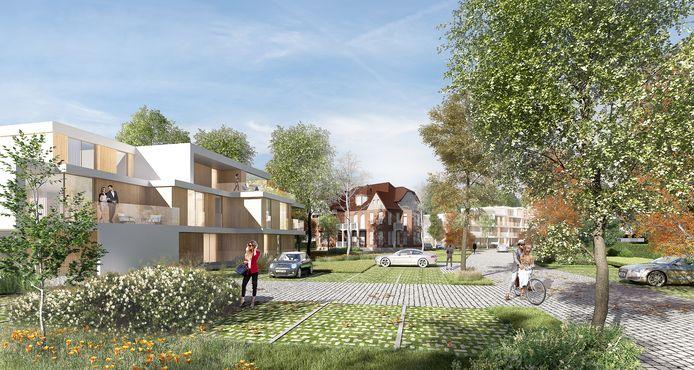 Een simulatie van hoe Oeverpark er zal uitzien bekeken vanuit de Groendreef.