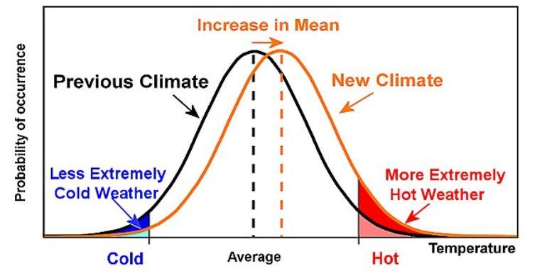 Doordat de temperatuursverdeling opschuift, vergroot de kans op warme extremen.