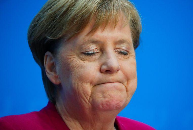 Merkel kondigde haar politieke afscheid vanmiddag aan op een persconferentie. Beeld REUTERS