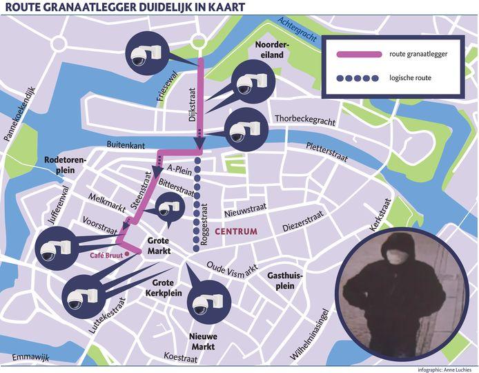 De politie verspreidde in Opsporing Verzocht een bewakingsbeeld en de afgelegde route van de granaatlegger in Zwolle