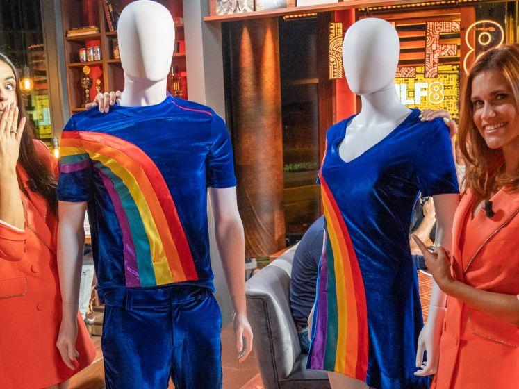 Hier zijn ze dan! Het nieuwe regenboogjurkje én -pakje van K3