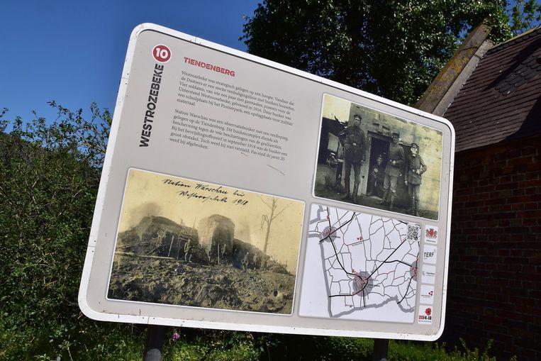 Op de Tiendenberg in Westrozebeke bouwden de Duitsers in de Eerste Wereldoorlog een observatiebunker, Station Warschau.