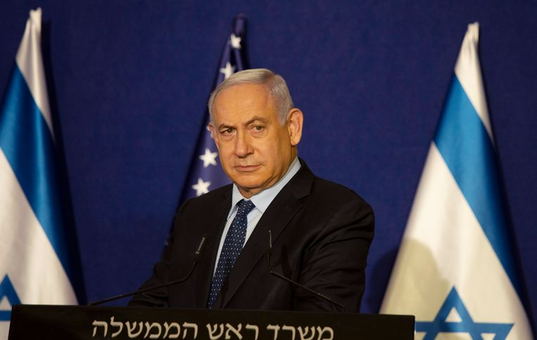 Premier Netanyahu eerder deze week op een persconferentie in Jeruzalem. Beeld AP