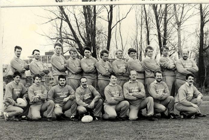 Teamfoto van RFC Gouda, begin jaren tachtig.