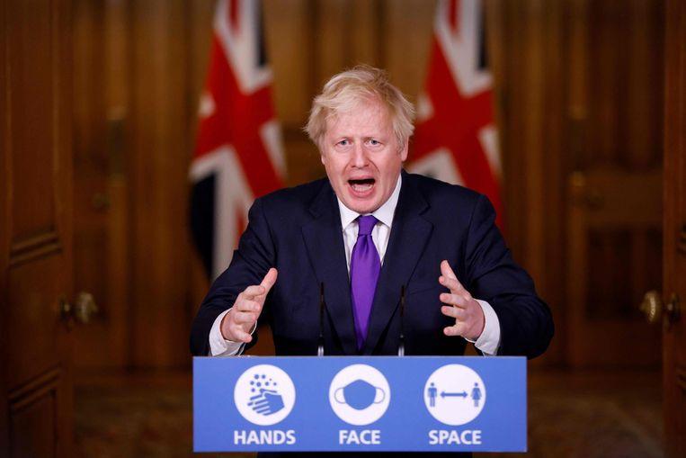 De Britse premier Boris Johnson tijdens zijn persconferentie woensdag. Beeld AFP