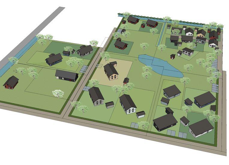 Het ontwerp van Bolderburen in de Flevopolder. Er waren woningen te koop tussen 152.00 en 394.000 euro, inclusief de grond. Beeld Theresa Lemckert