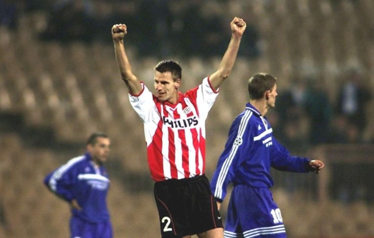 Matchwinnaar Andre Ooijer van PSV tijdens de uitwedstrijd in de Champions League voorronde tegen Dynamo Kiev  0-1.  Beeld ANP