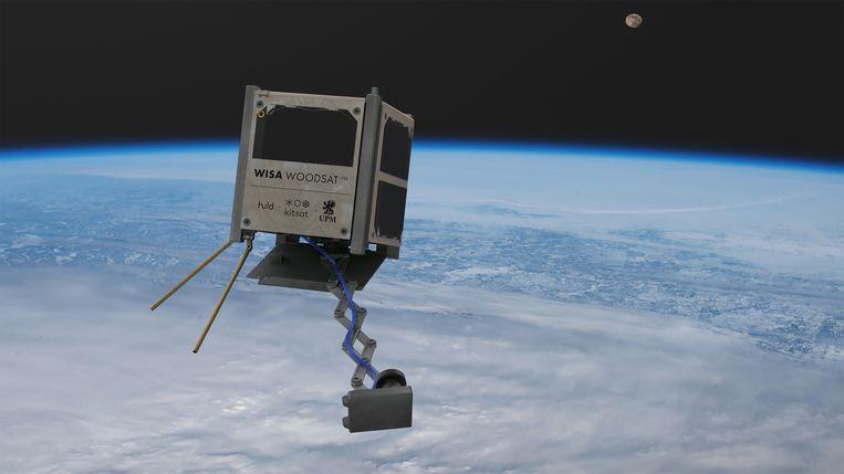 De Finnen lanceren dit najaar hun nieuwe, houten satelliet. Beeld Kitsat