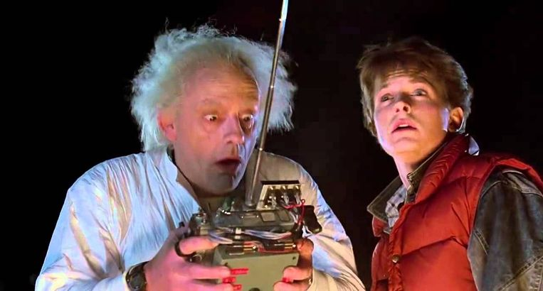 Christopher Lloyd en Michael J. Fox in 'Back to the Future'. Beeld
