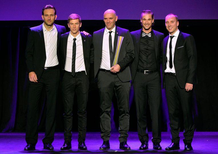 Het Belgische Davis Cup-team, met Niels Desein, Kimmer Coppejans, coach Johan Van Herck, Ruben Bemelmans en Steve Darcis. Beeld PHOTO_NEWS