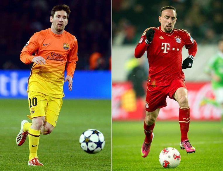 De sterspelers van Barcelona en Bayern: Messi (links) en Ribéry. Beeld afp