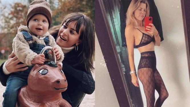 SHOWBITS. Astrid Coppens en dochtertje voor het eerst naar speeltuin en Tanja Dexters uit de kleren