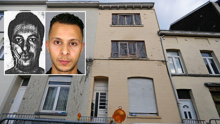 De woning in Vorst waar terreurverdachte Mohammed Belkaïd (l) op 15 maart door de politie werd uitgeschakeld. Beeld EPA, Kos