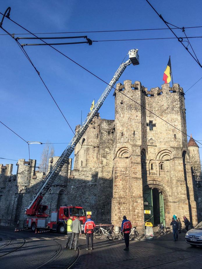 De brandweer inspecteerde de toren van het Gravensteen