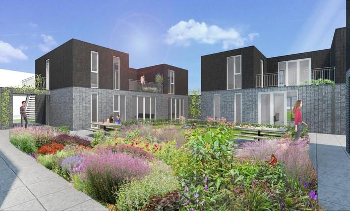 Impressie van de starterswoningen in bouwplan Oreo voor de Reep. illustratie Kim Verhoeven