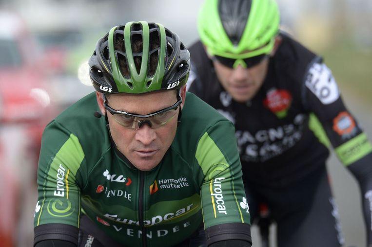 De Fransen Voeckler en Delaplace kleurden de etappe. Beeld AFP